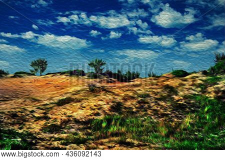 Sand Dunes With Undergrowth At The Tropical Beach Of Arraial Do Cabo. In A Brazilian Region Of Stunn