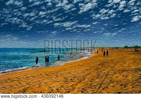 People Having Fun In A Large Tropical Beach With Calm Sea At Arraial Do Cabo. In A Brazilian Region