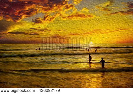 People Having Fun On Sundown In A Tropical Beach At Arraial Do Cabo. In A Brazilian Region Of Stunni