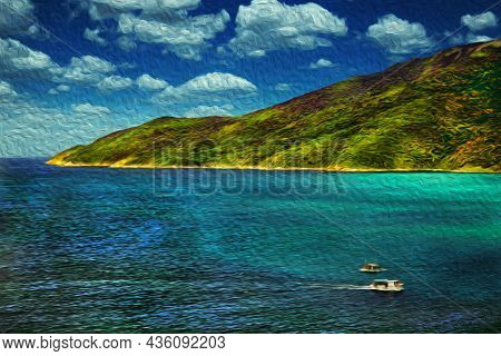 Trawlers Sailing On The Sea In A Sunny Day, Near The Beach Of Arraial Do Cabo. In A Brazilian Region