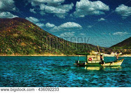Trawler Sailing On The Sea In A Sunny Day, Near The Beach Of Arraial Do Cabo. In A Brazilian Region