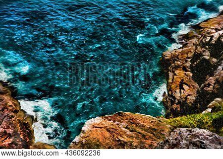 Waves From A Turquoise Sea Breaking On Rocks In A Cliff Near Arraial Do Cabo. In A Brazilian Region