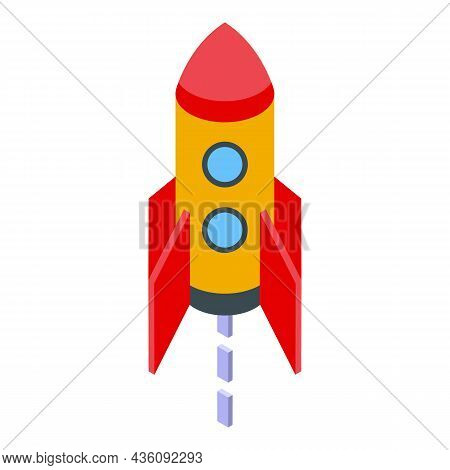Startup Rocket Icon Isometric Vector. Ship Launch. Start Project