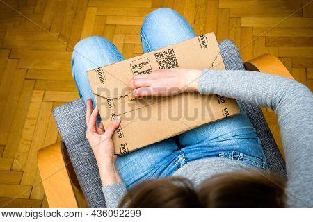 Barcelona, Spain - Nov 4, 2017: Cardboard Package Unboxing In The Living Room New Amazon Parcel Deli