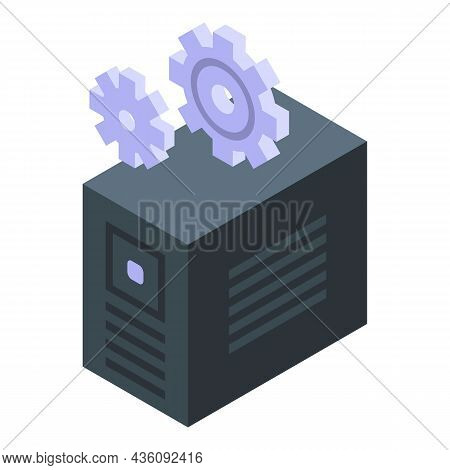 Pc Software Icon Isometric Vector. Computer Maintenance. Data Work