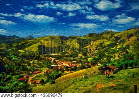 Small Village On Hilly Landscape With Valleys Covered By Forest At The Mantiqueira Ridge, In The Bra