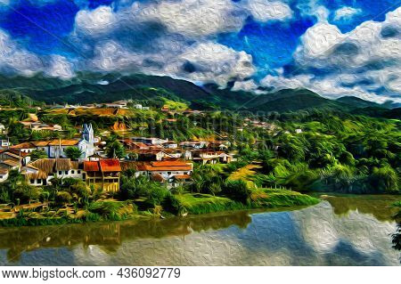 Hilly Landscape Covered By Forest And A Small Village On Riverbank In The Petar Park. A Region Famou