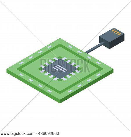 Repair Processor Icon Isometric Vector. Laptop Service. Support Fix