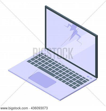 Fix Laptop Screen Icon Isometric Vector. Repair Service. Mobile Service