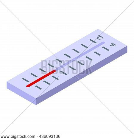 Outdoor Thermometer Icon Isometric Vector. Temperature Weather. Celsius Heat