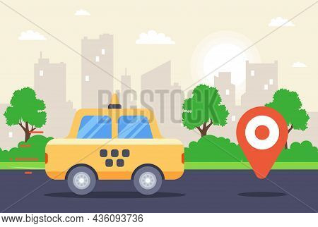 City Call Center For Taxi. Flat Vector Illustration.
