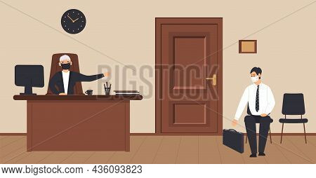 Office Corridor On A Cream Background: Reception With Elderly Secretary And Waiting Area With Visito