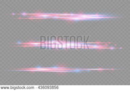 Red, Blue Motion Line, Horizontal Light Rays.