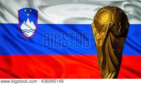 October 6, 2021, Ljubljana, Slovenia. Fifa World Cup Against The Background Of The Flag Of Slovenia.