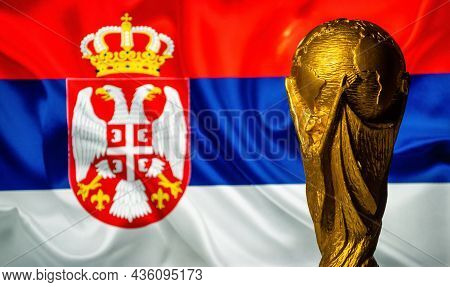 October 6, 2021 Belgrade, Serbia. Fifa World Cup On The Background Of The Flag Of Serbia.
