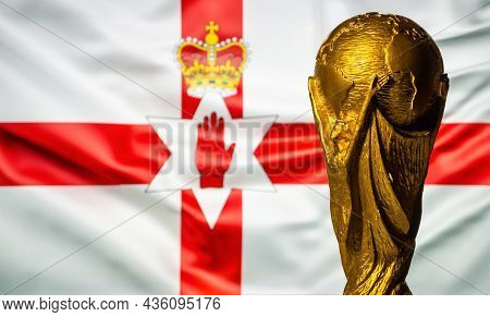 October 6, 2021 Belfast, Northern Ireland. Fifa World Cup Cup Against The Background Of The Flag Of