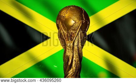 October 6, 2021, Kingston, Jamaica. Fifa World Cup On The Background Of The Flag Of Jamaica.