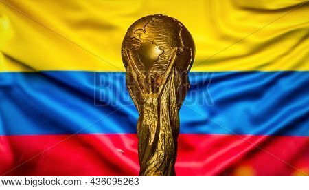 October 6, 2021, Bogota, Colombia. Fifa World Cup Against The Background Of The Flag Of Colombia.