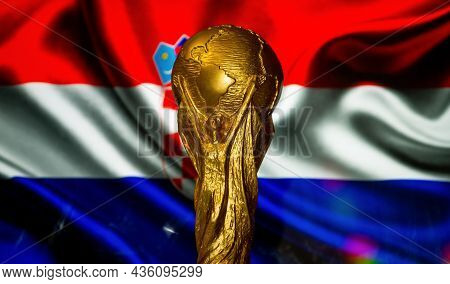 October 6, 2021, Zagreb, Croatia. Fifa World Cup On The Background Of The Flag Of Croatia.