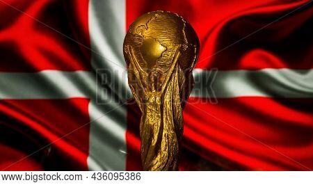 6 October 2021 Copenhagen, Denmark. Fifa World Cup On The Background Of The Flag Of Denmark.