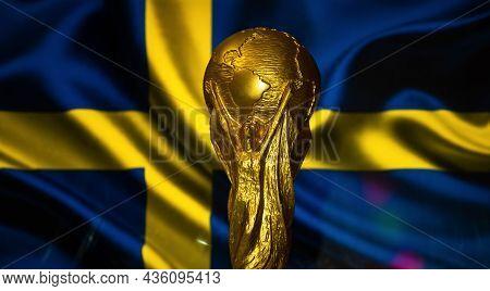 October 6, 2021, Stockholm, Sweden. Fifa World Cup On The Background Of The Flag Of Sweden.