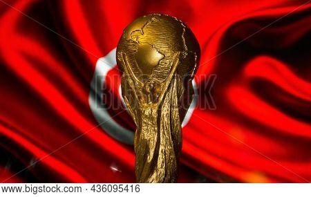 October 6, 2021, Tunisia, Tunisia. Fifa World Cup On The Background Of The Flag Of Tunisia.