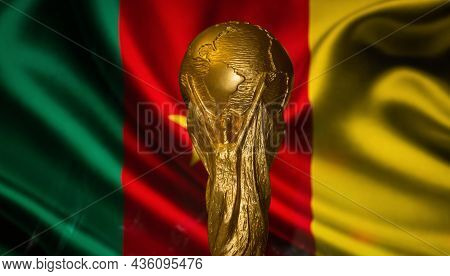 October 6, 2021, Yaounde, Cameroon. Fifa World Cup On The Background Of The Flag Of Cameroon.