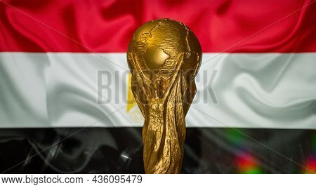 October 6, 2021 Cairo, Egypt. Fifa World Cup On The Background Of The Flag Of Egypt.