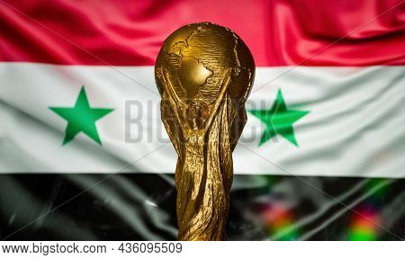 6 October 2021 Damascus, Syria. Fifa World Cup On The Background Of The Flag Of Syria.
