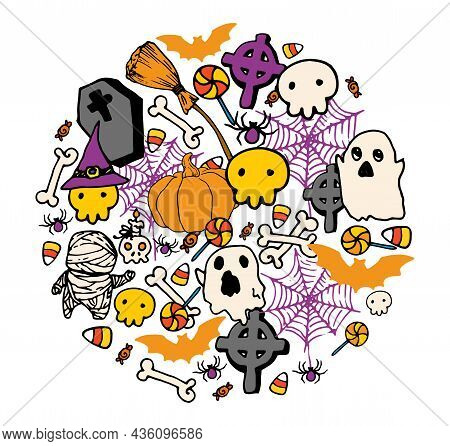 Round Pattern For Halloween In Cartoon Style. Round Bright Doodle Template With Ghosts, Mummies, Sku