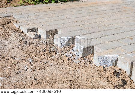 Creating Of Pavement With Block Paving, Brick Paving.