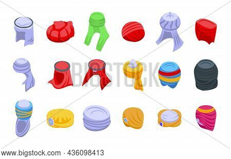 Arabic Turban Icons Set Isometric Vector. Arab Hat. Oriental Accessories