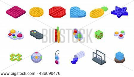 Antistress Toy Icons Set Isometric Vector. Simple Dimple. Sensory Ball