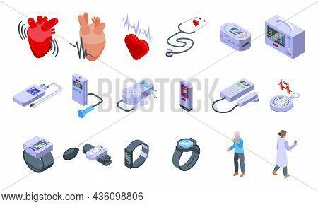 Palpitating Icons Set Isometric Vector. Abdomen Aid. Breath Attack