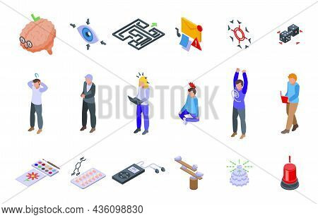 Concentration Icons Set Isometric Vector. Yoga Meditate. Mind Relax