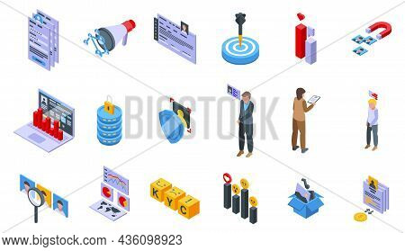 Know Your Client Icons Set Isometric Vector. Card Cms. Data Customer