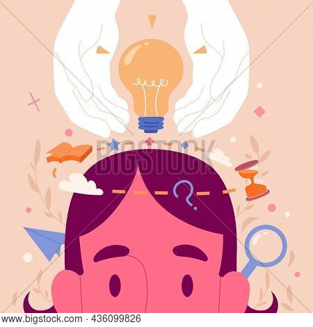 Genius Hour. Creative Man Brainstorms, Looks For Innovative Ideas And Comes Up With Different Ways T