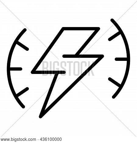 Thunderbolt Sensory Icon Outline Vector. Cognitive Process. Health Brain