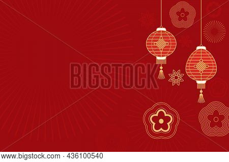 Asian Traditional Background With Chinese Lanterns, Flowers And Ornaments. Idle Background Red With