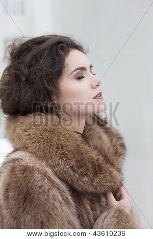 Love. Affectionate Dreamy Sensual Woman In Fur Coat In Reverie. Serene