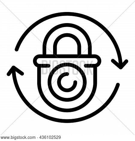 Change Cyber Lock Icon Outline Vector. Secure Key. Cyber Fraud