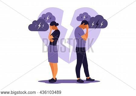 Concept Of Divorce, Misunderstanding In Family. Disagreement, Relationship Troubles. Man And Woman I