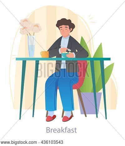 Child Having Breakfast. Boy Sitting At Table, Eating Cereal With Milk And Drinking Tea. Nutrition Of