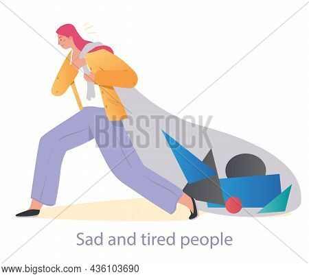 Heavy Burden Concept. Woman Pulls Load Of Psychological And Financial Problems. Tired, Busy Employee