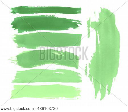 Color Smear The Paint. Green Spray Elements. Isolated Dirty Banner. Ink Drawn Frames Border. Abstrac