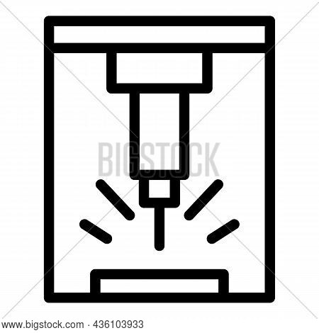Manufacturing Cnc Machine Icon Outline Vector. Work Tool. Lathe Equipment