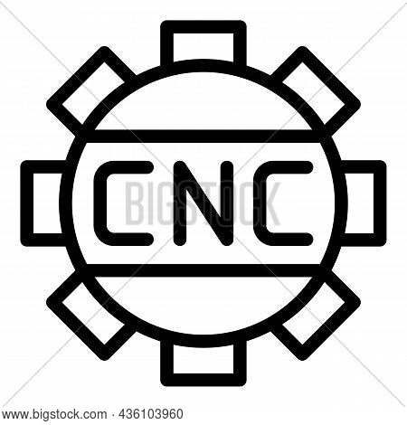 Cnc Machine Gear Icon Outline Vector. Work Tool. Lathe Equipment