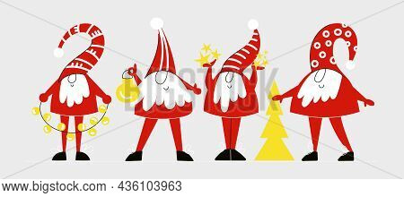 Set Of Cute Christmas Gnomes Or Dwarfs With Red Caps In Simple Scandinavian Nordic Style. Winter Noe