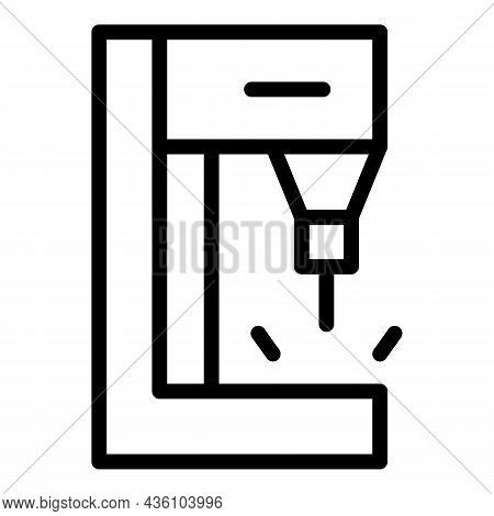 Hydraulic Cnc Machine Icon Outline Vector. Work Tool. Laser Factory