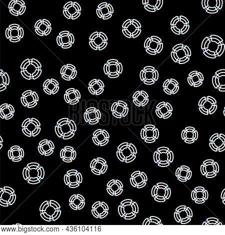 Line Business Lifebuoy Icon Isolated Seamless Pattern On Black Background. Rescue, Crisis, Support,